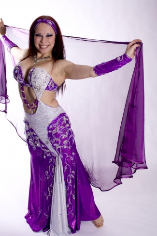 Ribbon edge chiffon veils for belly dance