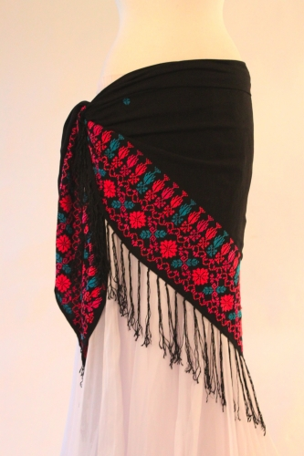 Tribal dance scarf - embroidered wrap