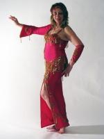 Belly dance cabaret dress - Hot neon pink