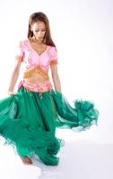 Belly dance chiffon circular skirt - dark green