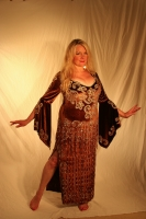 Belly dance full length dress in rich velvet