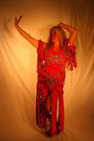 Belly dance cabaret dress - Rich Orange Velvet
