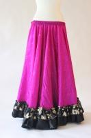 Belly dance gypsy tribal skirt - fuchsia with black ruffles