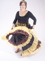 Belly dance gypsy tribal skirt - Black with yellow ruffles