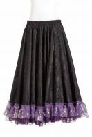 Belly dance gypsy tribal skirt - black with purple ruffles