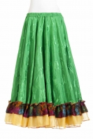 Belly dance gypsy tribal skirt - green with yellow ruffles