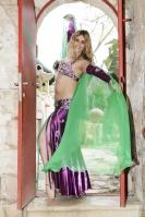 Belly dance plain chiffon veil - green