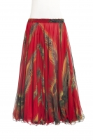 Belly dance printed skirt - peacock feathers on Red