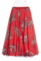 Belly dance printed skirt - red bouquet