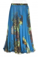 Belly dance superior printed skirt -  blue marine