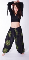 Emerald sequinned flowers on black harem gypsy pants