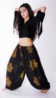 Gold sequinned flowers on black harem gypsy pants
