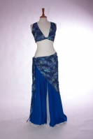 Lycra three piece belly dance practice set Blue Leopard Print