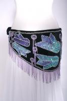 Pharonic style velvet fringed belly dance belt