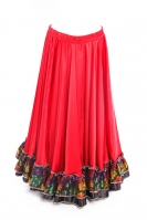 Belly dance gypsy tribal skirt - red with multi ruffles
