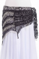 Sequinned net belt with rich crochet detail