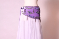 Velvet paisley belly dance belt - lilac with silver