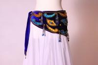 Velvet paisley belly dance belt - royal blue with gold