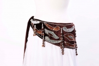 Velvet paisley belly dance belt -  dark chocolate with silver