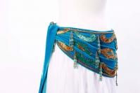 Velvet paisley belly dance belt -  light blue with gold