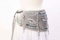 Velvet paisley belly dance belt - Dove and silver