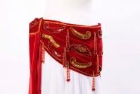 Velvet paisley belly dance belt - true red