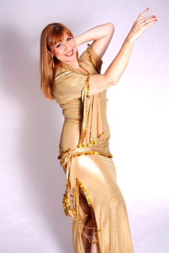 Belly dance sa'idi dress/galabia - Gold on Gold