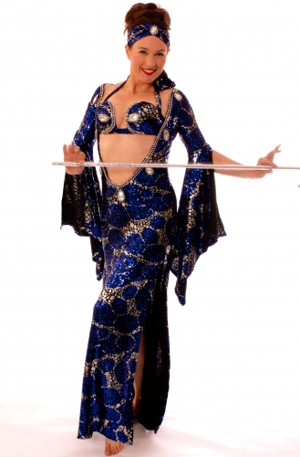 Belly dance special sa'idi dress/galabia-Midnight Sparkle