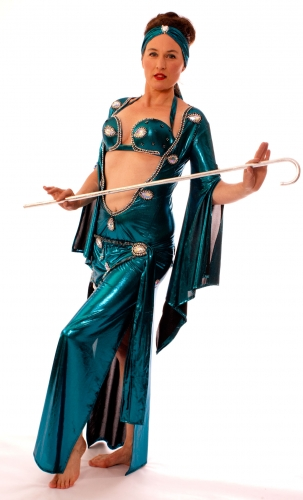 Belly dance special sa'idi dress/galabia - Ice Teal