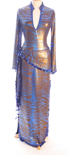 Belly dance sa'idi dress/galabia - Zingy Blue Zebra