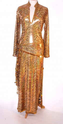Belly dance sa'idi dress/galabia - Holographic Gold Tiger