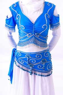 Belly dance belts for tops - Royal blue and silver