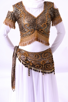Belly dance belts for tops - Leopard and gold