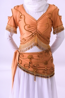 Belly dance belts for tops - Light bronze and gold