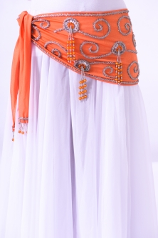 Belly dance belts for tops - Orange and silver
