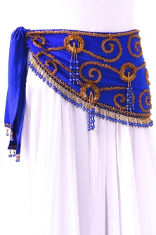 Belly dance belts for tops - Royal blue and gold