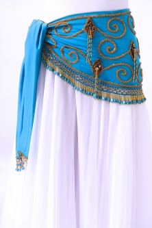 Belly dance belts for tops - Turquoise and gold