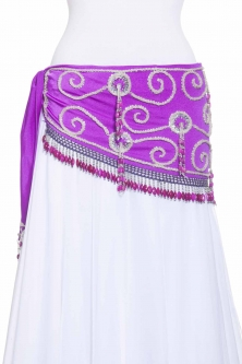 Belly dance belts for tops - Purple and silver