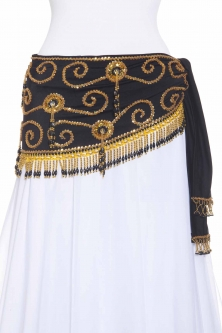 Belly dance belts for tops - Black and silver