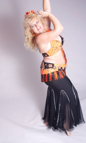 Belly dance bra and belt set - Orange Bomb