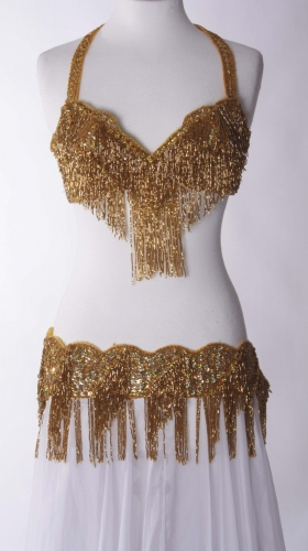 Belly dance bra and belt set - Gold Goddess