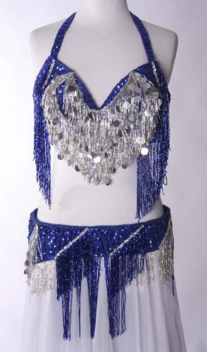 Belly dance bra and belt set - Blue Silver Waterfall