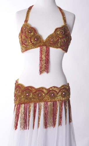 Belly dance bra and belt set - Gold Fire