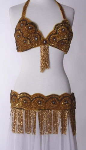 Belly dance bra and belt set - Chocolate and Caramel