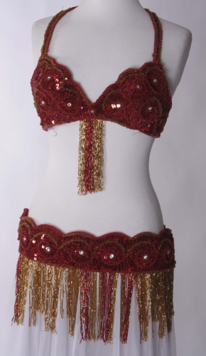 Belly dance bra and belt set - Ruby Flames