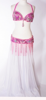 Belly dance bra and belt set - Fuchsia Thrill