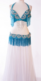 Belly dance bra and belt set - Mermaid Magic