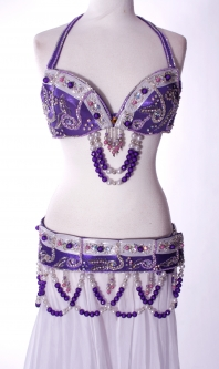 Belly dance bra and belt set - Purple Princess