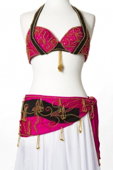 Belly dance bra and belt set - Hot Romance