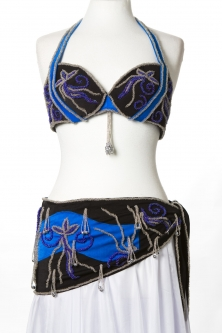 Belly dance bra and belt set - Blue Royale